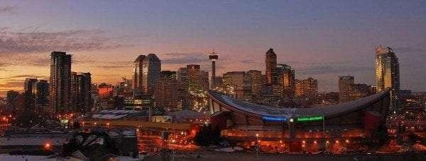 Skyline Calgary, Cityscape, Night, Landscape, Evening