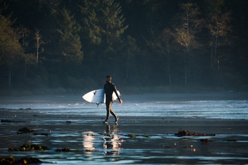 surfing at tofino