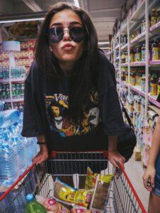 A girl enjoying shopping