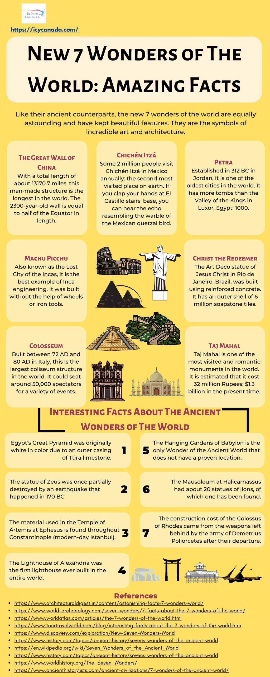New 7 Wonders of The World Amazing Facts
