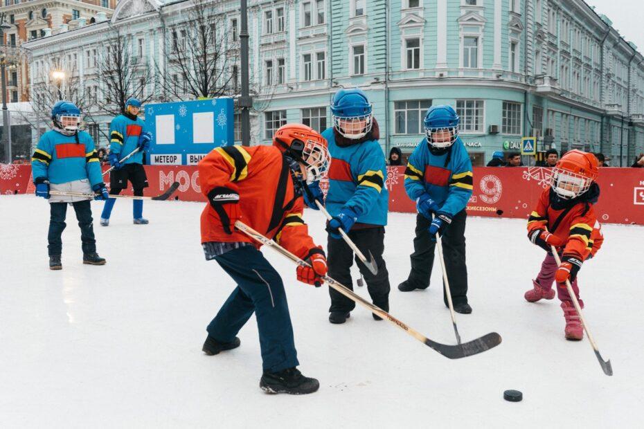 Ice hockey during winter