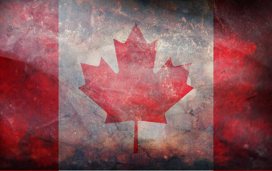 retro flag of Canada with grunge texture